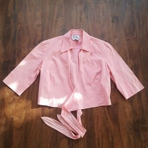 Vintage Lilly Pulitzer 3/4 Sleeve Crop Top Pink